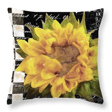 Late Summer Yellow Sunflowers II Throw Pillow