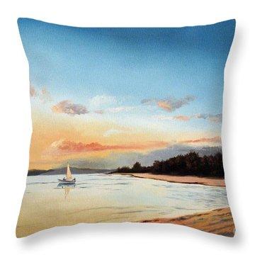 Late Sunset Along The Beach Throw Pillow