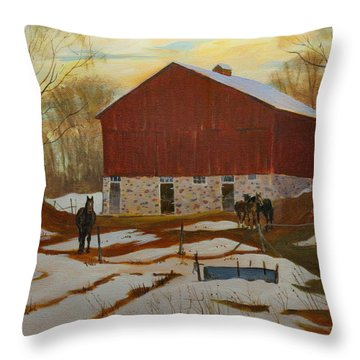 Late Winter At The Farm Throw Pillow by David Gilmore