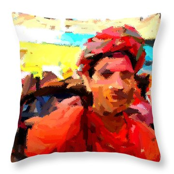 Lathmaar Holi Of Barsana-1 Throw Pillow