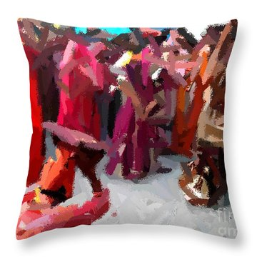 Lathmaar Holi Of Barsana-2 Throw Pillow