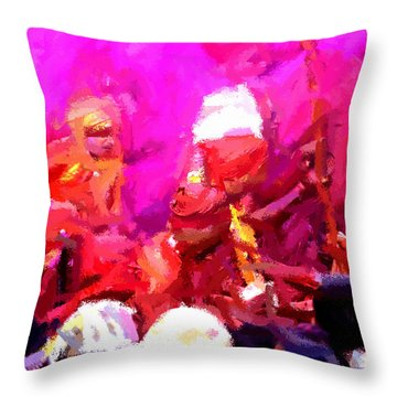 Lathmaar Holi Of Barsana-3 Throw Pillow