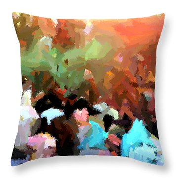 Lathmaar Holi Of Barsana-4 Throw Pillow