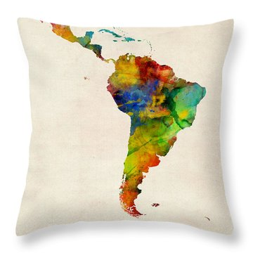 Latin America Watercolor Map Throw Pillow