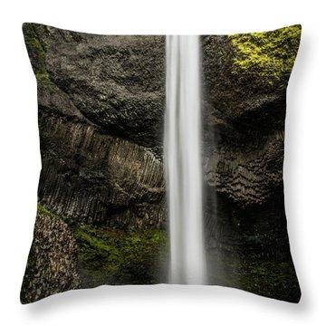 Latourell Falls Throw Pillow by Joe Hudspeth