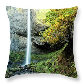 Latourell Falls Throw Pillow
