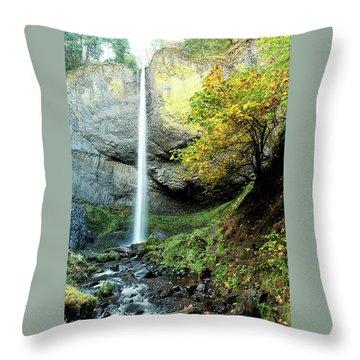 Latourell Falls Throw Pillow