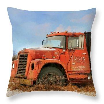 Throw Pillow featuring the photograph Latsha Lumber Truck by Lori Deiter