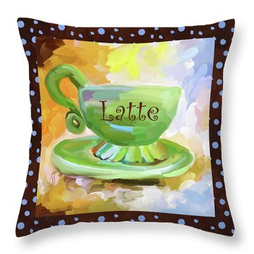 Latte Coffee Cup With Blue Dots Throw Pillow by Jai Johnson