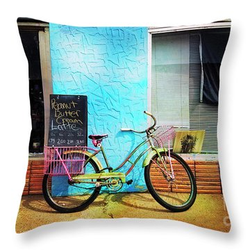 Latte Love Bicycle Throw Pillow