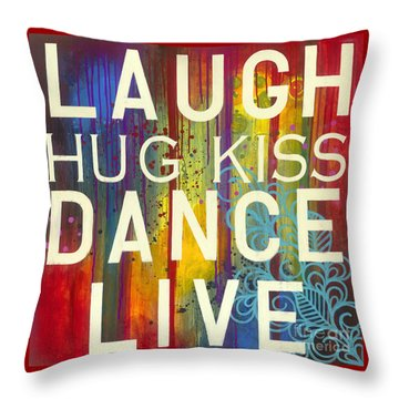 Throw Pillow featuring the painting Laugh Hug Kiss Dance Live by Carla Bank