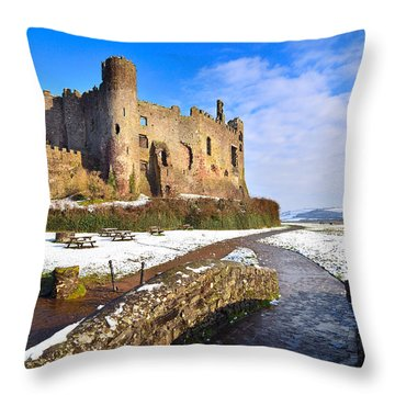 Laugharne Castle 2 Throw Pillow
