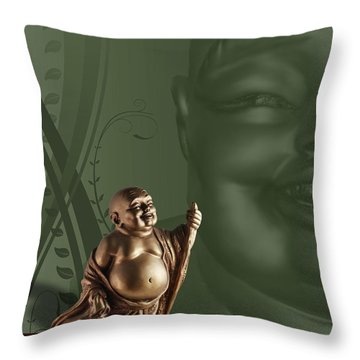 Laughing Buddah Throw Pillow