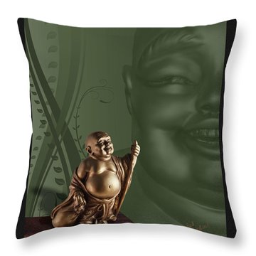 Laughing Buddha Throw Pillow