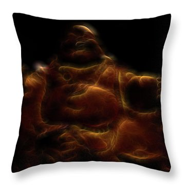 Laughing Buddha Light Throw Pillow by William Horden