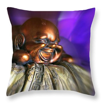 Laughing Buddha Violet Purple Flame Throw Pillow