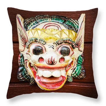 Laughing Mask Throw Pillow