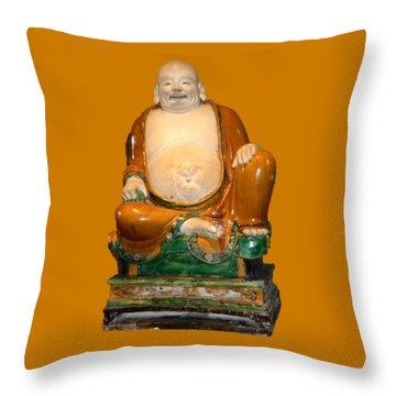 Laughing Monk Throw Pillow