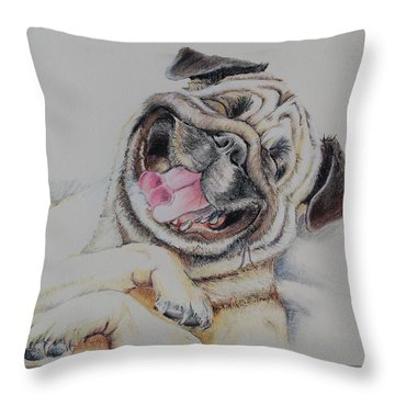 Laughing Pug Throw Pillow