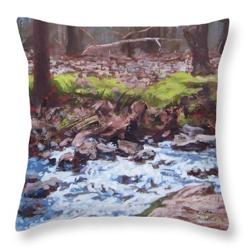 Laughing Stream In Winter Throw Pillow by Carol Strickland