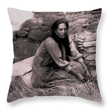 Lauhala Weaver Throw Pillow by Pg Reproductions