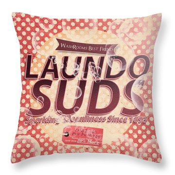 Laundo Soap Suds Advertising Throw Pillow