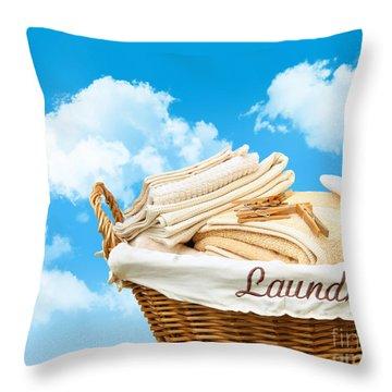 Laundry Basket  Against A Blue Sky Throw Pillow by Sandra Cunningham