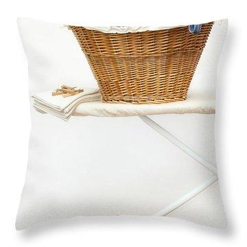 Laundry Basket With Teddy Bears On Floor Throw Pillow by Sandra Cunningham