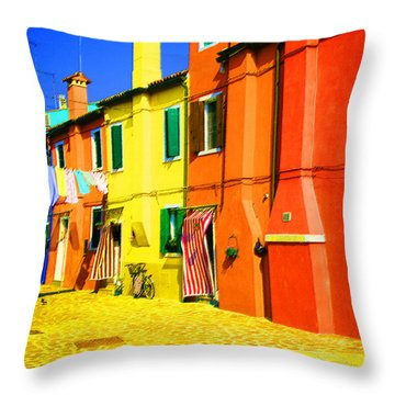 Throw Pillow featuring the photograph Laundry Between Chimneys by Donna Corless