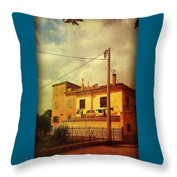 Throw Pillow featuring the photograph Laundry Day by Anne Kotan