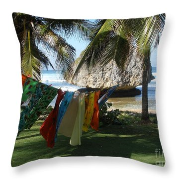 Laundry Day In Barbados Throw Pillow