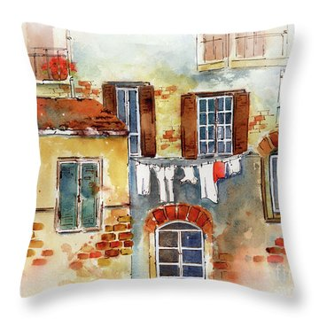 Laundry Day In Europe Throw Pillow