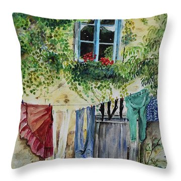 Throw Pillow featuring the painting Laundry Day In France by Jan Dappen