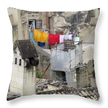 Laundry Day In Matera.italy Throw Pillow by Jennie Breeze