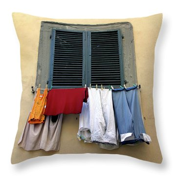 Throw Pillow featuring the photograph Laundry Day by KG Thienemann