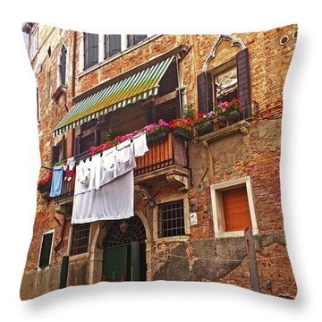 Throw Pillow featuring the photograph Laundry Drying In Venice by Anne Kotan