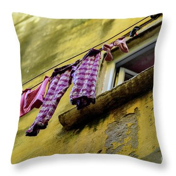 Laundry Hanging In Rovinj, Croatia Throw Pillow