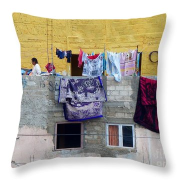 Laundry In Guanajuato Throw Pillow