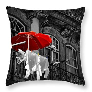 Laundry With Red Umbrella In Porto - Portugal Throw Pillow