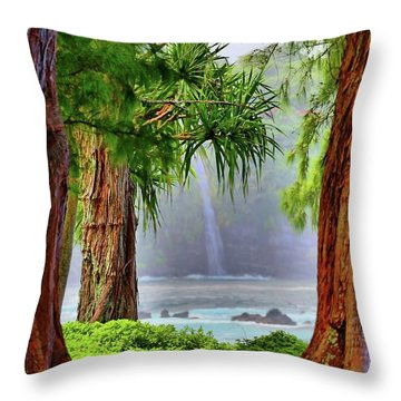 Throw Pillow featuring the photograph Laupahoehoe Hawaii by DJ Florek