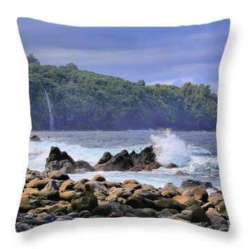 Throw Pillow featuring the photograph Laupahoehoe Point by DJ Florek