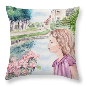 Throw Pillow featuring the painting Laura by Elizabeth Lock