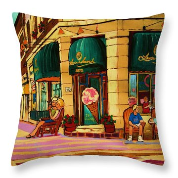 Laura Secord Candy And Cone Shop Throw Pillow by Carole Spandau