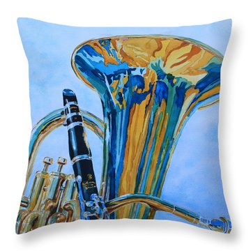 Laurel And Hardy Throw Pillow by Jenny Armitage