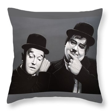 Laurel And Hardy Throw Pillow by Paul Meijering