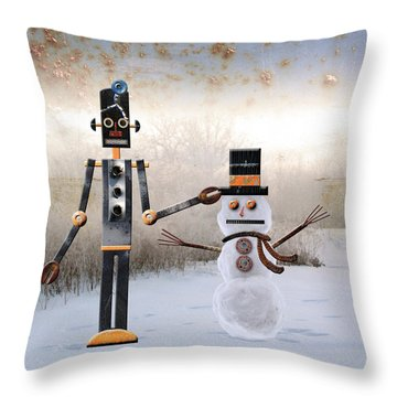 Laurence Builds A Snowman Throw Pillow by Joan Ladendorf