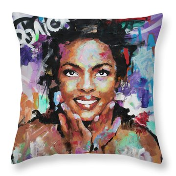 Throw Pillow featuring the painting Lauryn Hill by Richard Day