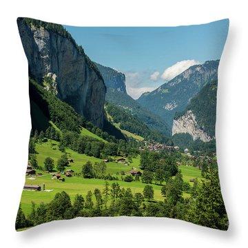 Throw Pillow featuring the photograph Lauterbrunnen Mountain Valley - Swiss Alps - Switzerland by Gary Whitton