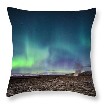 Lava And Light - Aurora Over Iceland Throw Pillow