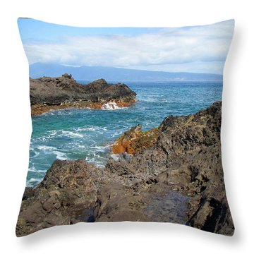 Lava Coastline - West Maui Throw Pillow